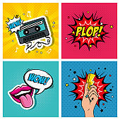 set icons and expressions style pop art