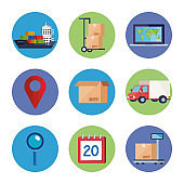 set of delivery logistic service icons