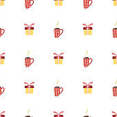 Vintage seamless pattern for decorative design with cup and gift box.