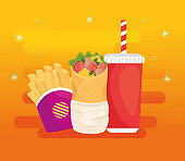 fast food, lunch or meal, burrito with french fries and bottle beverage