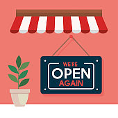 open again after quarantine,reopening of shop, we are open again lettering, with parasol and pot plant decoration