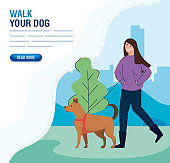 banner of woman walking with dog in landscape