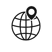 Globe with maps location. Vector illustration