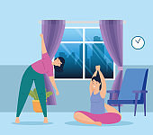 women practicing exercise and yoga in the home