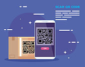 smartphone with scan code qr and box carton