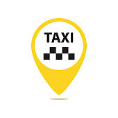 Gps pointer map with taxi icon. Yellow round shapes on white background. Vector illustration web design element.