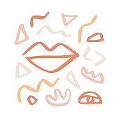 Modern abstractions cover template with lips and geometric shapes