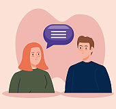 woman talking with man with speech bubble