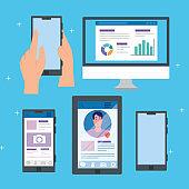 social media, set of smartphones and computer