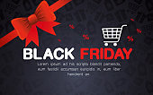 black friday with red bowtie and cart vector design