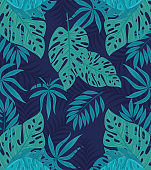 tropical background with branches and jungle plants, decoration with tropical leaves