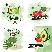 set of vegan food poster with vegetables