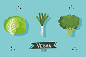 vegan food poster with lettuce and vegetables
