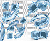 Realistic ice cubes with splashes and the twists of water on transparent background. Ice cubes from different angles. 3D vector icon.