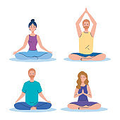 group people meditating, concept for yoga, meditation, relax, healthy lifestyle