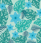 tropical background, flowers blue color and tropical plants, decoration with flowers and tropical leaves