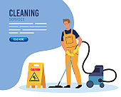 banner, man cleaning worker with vacuum cleaner, man janitor with vacuum cleaner and signage caution