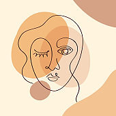 Fashion brush drawing women face on colorful collage