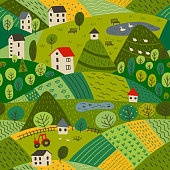 seamless pattern of summer village landscape