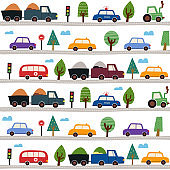 Childish seamless pattern with cityscape with cars. Cute illustrations for children's room design, postcards, prints for clothes.