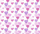 Vector Valentine Hearts Watercolor Seamless Pattern