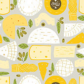 Vector seamless pattern with cheese on a white background. Modern background for packaging, ads, labels and other designs. Hand drawn illustration.