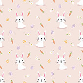 Cute white rabbit and easter eggs seamless pattern.