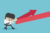 Concept cartoon illustration young businessman reflection arrow