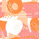 Modern pattern with peaches. Abstract art print. Abstract design for paper, covers, cards, fabrics, interior items and other users. Hand drawn illustration.