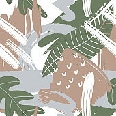 Modern pattern with tropical leaves. Abstract design for paper, covers, cards, fabrics, interior items and other users. Vector illustration.