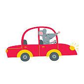 Illustration of rat driving red car