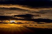 Beautiful sunrise over a southern Utah desert with sunrays