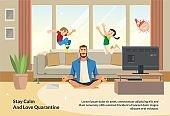 Banner Illustration Stay Calm and Love Quarantine