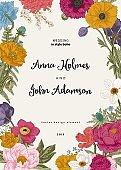 Wedding invitation. Spring Flowers. Poppy, anemones, peony