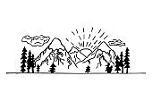 Hand drawn lineart contour mountain landscape, nature scenery. White and black design. Modern composition, travel concept.
