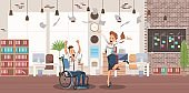 Disabled People Successful Career Vector Concept
