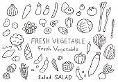 Hand-drawn illustrations of various vegetables