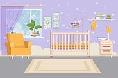 Elegant, modern, comfortable baby toddler bedroom, room interior. Baby crib, chair, table and shelf. Wall with decorations.