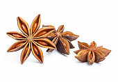 Delicious star anise on white