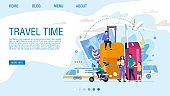 Flat Landing Page Offering Exciting Travel Time