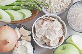 Variety of prebiotic foods for gut health, low carb diet, dairy free and gluten free, healthy plant based vegan food