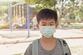 Asian preteen tween boy wearing mask near playground, school reopening, return back to school after covid-19 coronavirus pandemic is over, new normal concept