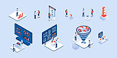 Coworkers set vector. Collection of scene of freelancers, businessman for expo, forex, coworking office illustration. Internet communication business in isometric style.