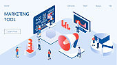 Marketing e-commerce, data analysis tool isometric vector for website. Digital business content, column charts on screen. E-mail marketing, product promoting, advertising campaign