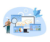 Analytics and data seo optimization analyzing wireframe research. Vector concept flat graphic simple illustration