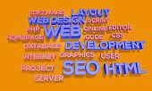 3d render webdesign word cloud Concept of web designing