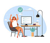 Completed task work done and happy woman worker business secretary, vector flat cartoon graphic design illustration