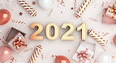 Happy new year 2021 text background concept with gift box, firework rocket, balloon, ribbon, 3D rendering illustration