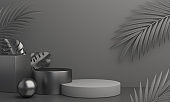 Black Friday podium with palm leaves, product display mock up on studio lighting background. 3D rendering illustration.