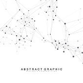 Digits abstract background with connected line and dots, wave flow. Digital neural networks. Network and connection background for your presentation. Graphic polygonal background. Vector illustration.